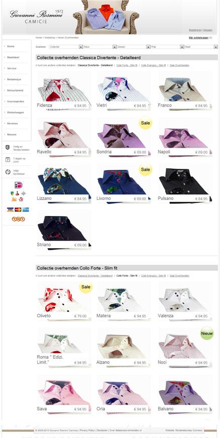Webwinkel design overzicht pagina