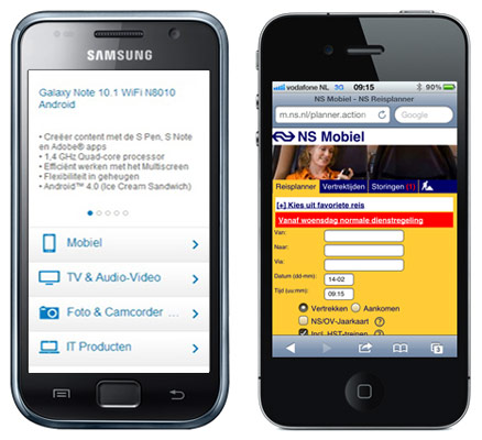 Website Design Patterns: mobiele website Samsung en NS